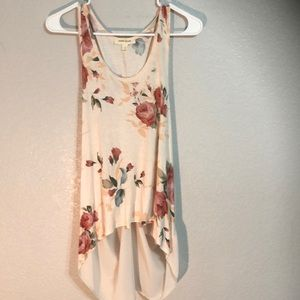 Floral print, dusty rose, sleeveless, open back.